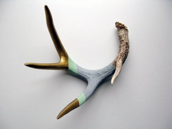 Gold, Mint & Gray Striped Painted Antler - Large
