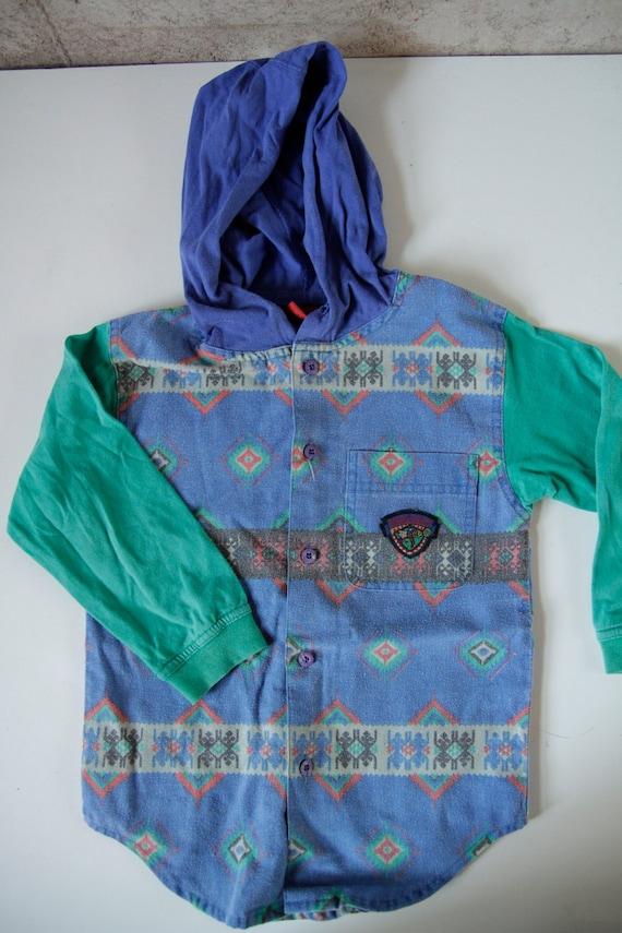 southwest 90s children's KRISS kross SKATER hoodie KIDS button up flannel style shirt