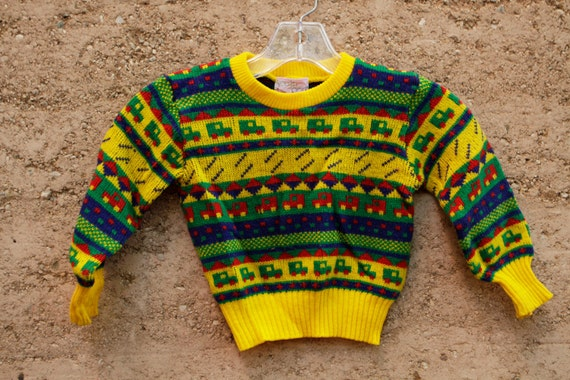 80s kids SWEATER yellow & green all over southwest print