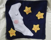 PRICE REDUCED Moon and Stars Baby Blanket Crochet with Flannel Backing