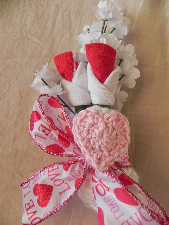Girl Baby Shower Corsage with Heart Beanie Hat Hair Clip