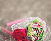 Sweet Pink and Green Flower Headband