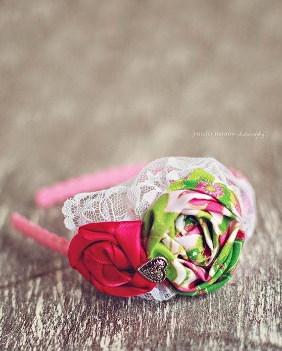 Sweet Pink and Green Flower Headband