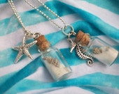 Beach In A Bottle Necklace with silver charm