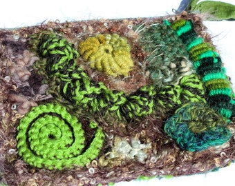 ON SALE- Greens and Browns Freeform Crochet Purse / Clutch