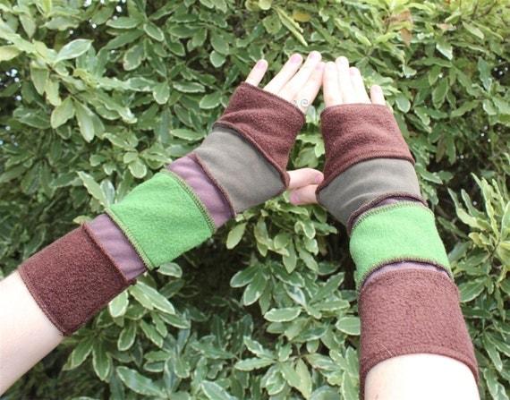 Browns,Green,Khaki Fingerless Gloves