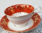 Royal Grafton Tea Cup and Saucer, Pumpkin Orange and White