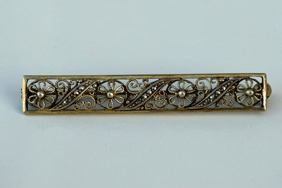 Sterling Silver Filigree Bar Pin