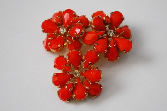 Vintage Faceted Orange Stone Flower Brooch