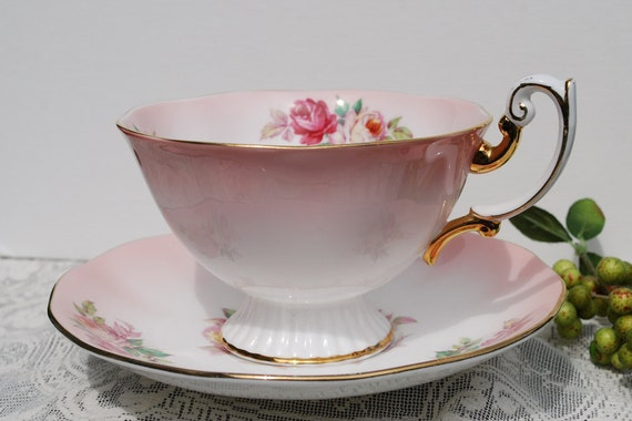 Royal Albert Tea Cup and Saucer, Pink and White with Pink Roses