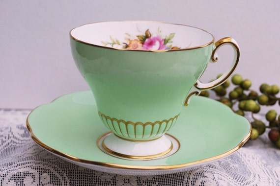 Foley Green and Gilt Tea Cup and Saucer, 3155