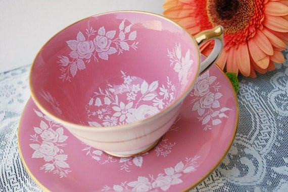 Aynsley Tea Cup and Saucer, Pink and White Floral Teacup