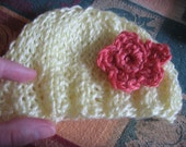 Soft Yellow Baby Hat (Size Premature to 6 Months) Actual Hat Not a Pattern
