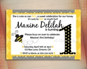 Busy Bumble Bee Birthday Invitation, Busy Bee Birthday Invite, Bumble Bee Shower Printable Invite - Digital File You Print