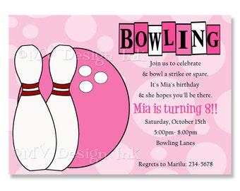 Bowling Birthday Party Invitation, Girl Bowling Personalized Birthday Invite, Pink Bowling Birthday Invite-Digital File You Print
