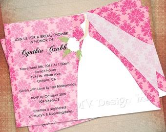 Damask Chic Bride Silhouette Bridal Shower Invitation, Bride Silhouette Bridal Shower Invite, Wedding Invitation-Digital File You Print