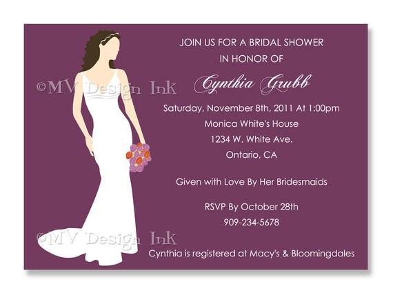 Bride Silhouette Bridal Shower Invite, Bridal Shower Invite, Silhouette Bridal Shower Invite, Wedding Invitation-Digital File You Print