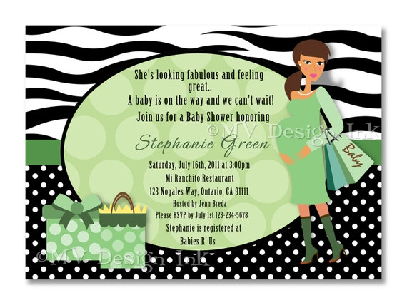Mom To-Be Shopping Baby Shower Invitation, Shopping Mom To Be Baby Shower Invite, Black Zebra Baby Shower Invite-Digital File You Print