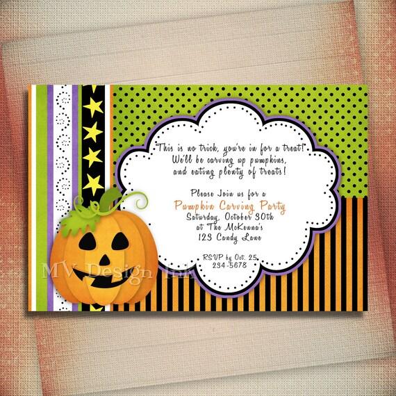 Jack O' Lantern Pumpkin Halloween Invitation, Halloween Jack O' Lantern Birthday Invite, Jack O' Lantern Halloween Party Invite-You Print
