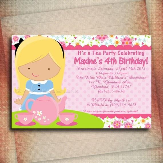 Princess Tea Party Birthday Invitation, Princess Tea Personalized Birthday Invite, Tea Cup Birthday Invite - Digital File You Print