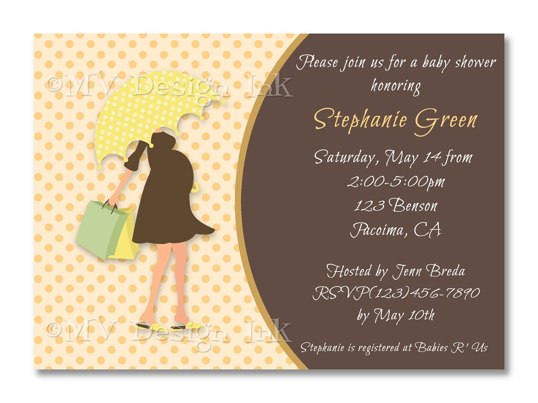 mom tobe under umbrella baby shower invitation by mvdesignink, Baby shower