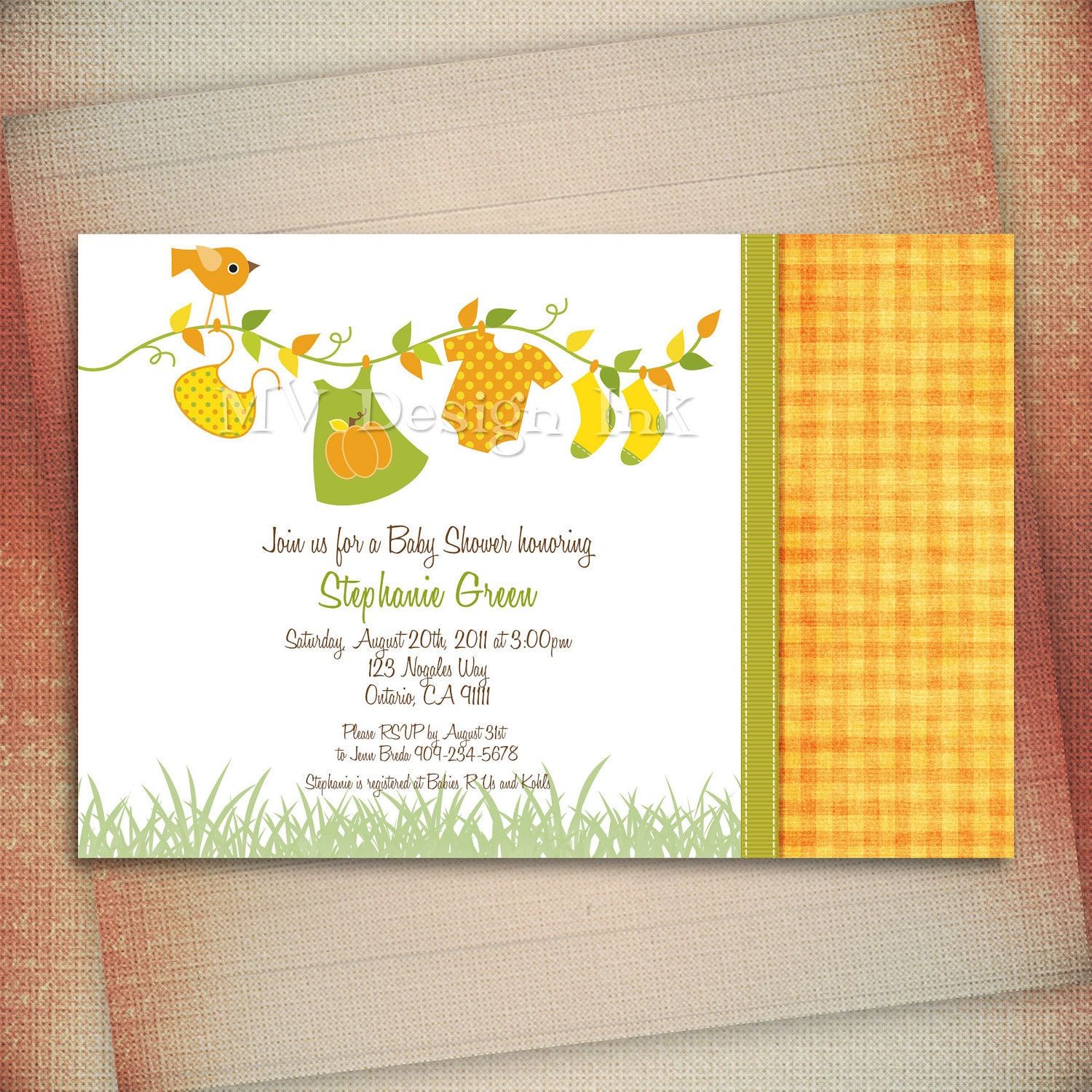 clothesline baby shower invitation fall colors by mvdesignink