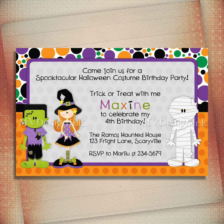 Halloween Costume Birthday Invitation Halloween By MVDesignInk