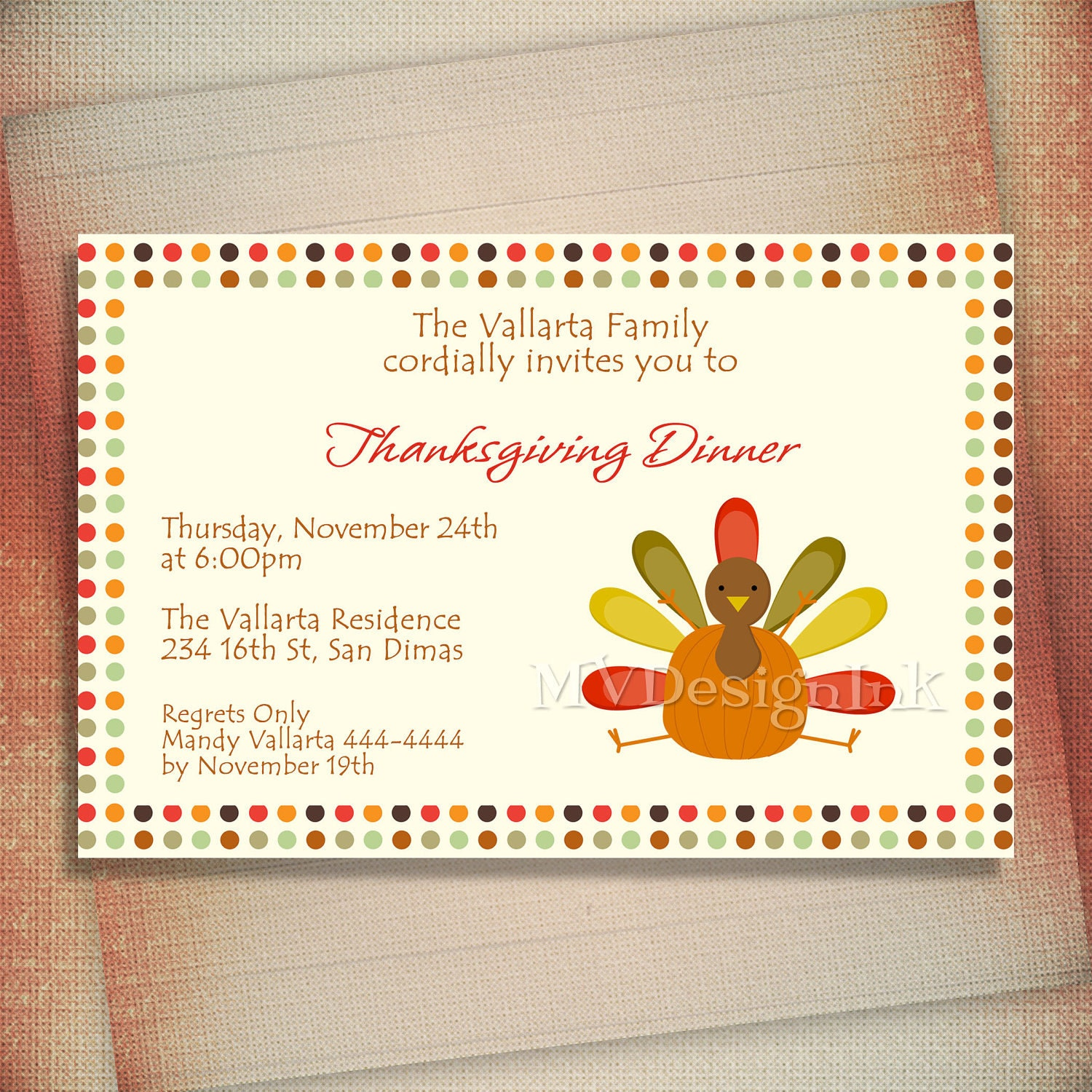 Personalized thanksgiving dinner invitations eat drink and be zoom stopboris Choice Image