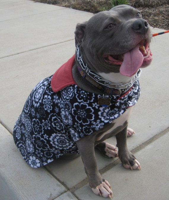 Black and White Floral with Sequin Butterfly Fleece Dog Coat - Extra Large