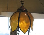 Vintage amber stained glass leaded glass tulip shaped chandelier