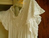 Vintage 1800's Lingerie/Nightgown White Beautiful Rows Netted lace With Appliques Of Butterfly Like Flowers- Lace Bell Sleeves Treasury Item