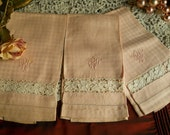 Vintage 1940's Set of 3 Linen Hand Towels With Inset of Lace And Monogram Pulled Threadwork Antique Housewares Shabby Chic Prairie Cottage