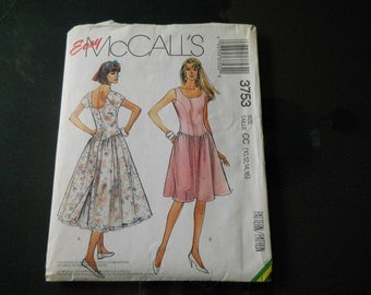 Dress Pattern 1988 McCall's Easy Dress and Petticoat two versions No. 3753 Size CC 10,12,14,16