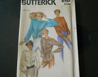 Vintage Butterick Blouse Pattern, Uncut, 6761 Classic Shirttail Hemline, Back Pleated Into Self Lined Shoulder Yoke, Button Cuffs