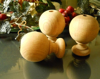 Set of 3 Solid Oak Wood Architectual Finials- Cured Wood- Supplies- Crafts or Decoration Supplies