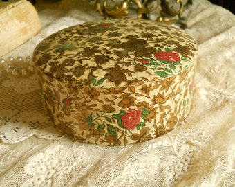 Vintage Paper Mache Coaster in Paper Mache Round Box- Container- Antiques- Collectibles Supplies