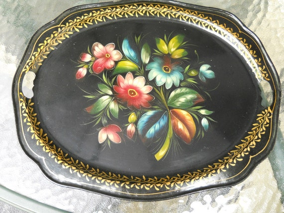 Vintage Gorgeous Russian Toleware Tray Black With Handles Handpainted Beautiful Scalloped Edge- Collectibles- Serving- Supplies