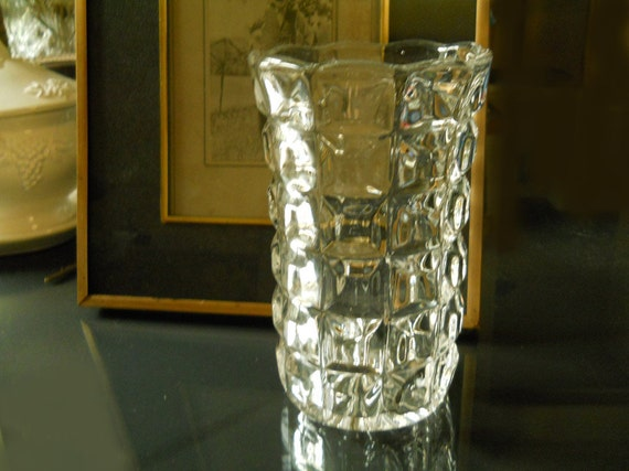 Vintage Retro Thick Glass Vase with 3 Dimensional Squares Bottom Starburst Tiny Bubbles in Glass Home Decor Antiques