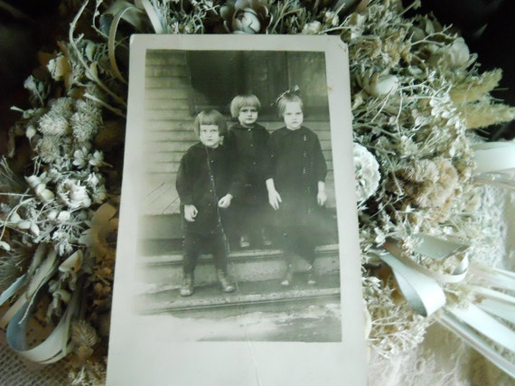 Vintage 1900's Real Photograph on Post Card - 3 Children On Porch Steps- Black and White- Supplies- Paper Ephemera