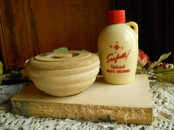 Vintage Seaforth Spiced Men's Cologne & Wooden Soap Dish Collection- Supplies- Accessories- Glass Jug With Handle