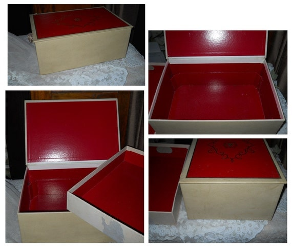 Vintage Storage Chest/ Box WithTray, Red Top And Interior- Scroll And Crest In Gold Lustre Top Design Home Decor Storage
