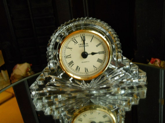 Lead Crystal Godinger Crystal Ledgends Quartz Desk Clock- Solid Glass 24 Percent Lead- Home Decor- Supplies- Housewares- Works Shabby Chic