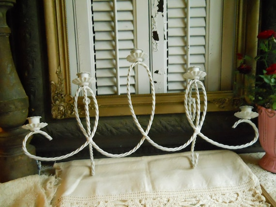 Vintage Twisted Metal 5 Candle Light Candelabra- Home Decor- Shabby Chic- Vintage- Paris Apartment Wall Hanging