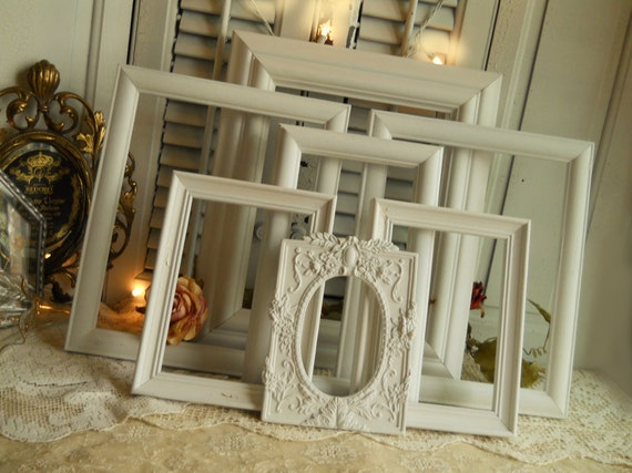 Vintage Cottage White Frame Collection of 7, Architectual Statement Wall Grouping Shabby Chic Vintage Farmhouse Prairie Cottage