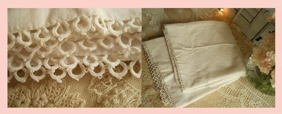 Vintage Pair Cotton Pillow Cases With Tatting Handmade, Home Decor Bedding- Shabby Chic- Farmhouse Priarie-  Paris Apt