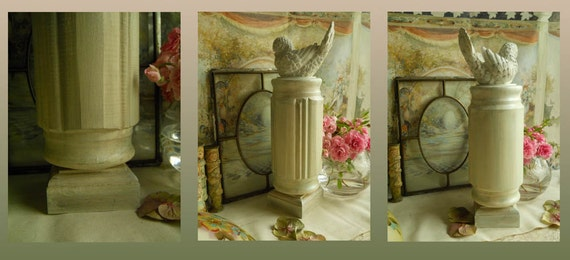 Reserved  Vintage Bird On A Pedestal, Wood Newel Post Painted White With Silvery Moss Green Upcycled Home Decor ShabbyChic Paris Apt Cottage