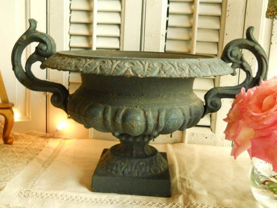 Antique Black Cast Iron Urn Ornate Handles Egg & Dart Design