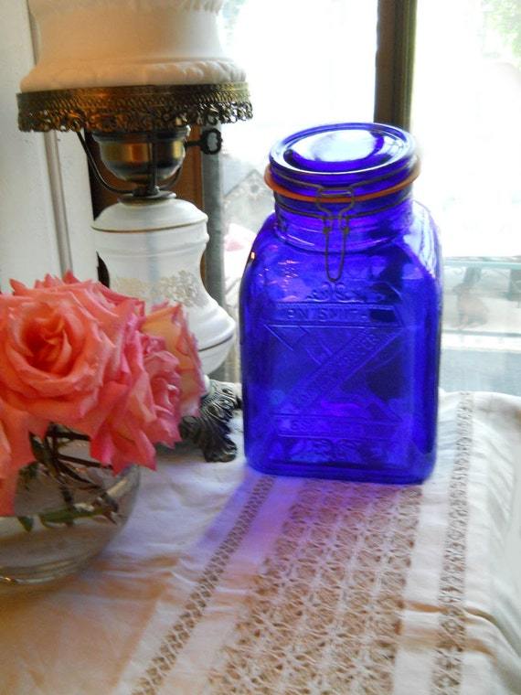 Vintage Cobalt Large Glass Square Jar Canister Container With