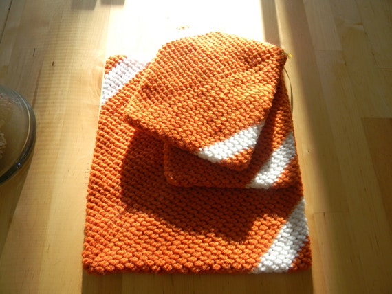 Crocheted Trivet Set - Burnt Orange and White, Potholders