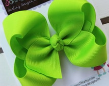"""Lime Green Bow -- 4"""" Boutique Bow -- Darling Little Bow Shop"""